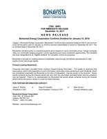 Bonavista Energy Corporation Confirms Dividend for January 15, 2018 (CNW Group/Bonavista Energy Corporation)