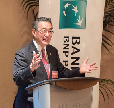 Yukinori Nishio, EVP and Bank of the West's Head of the Pacific Rim Banking Division, addresses media at the 2017 Bank of the West Pac Rim Press Briefing
