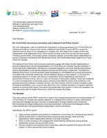 National Food Policy Council Joint Letter (CNW Group/Maple Leaf Foods Inc.)