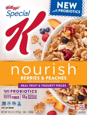 Special K Nourish® Berries & Peaches with Probiotics is only cereal from a leading brand to contain live and active cultures