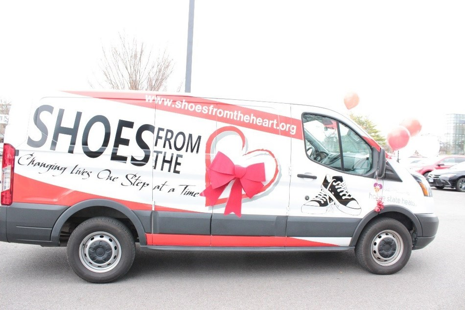 Home State Health presented Shoes from the Heart, a Missouri non-profit, with a van so they can transport shoes to children in need throughout the state.