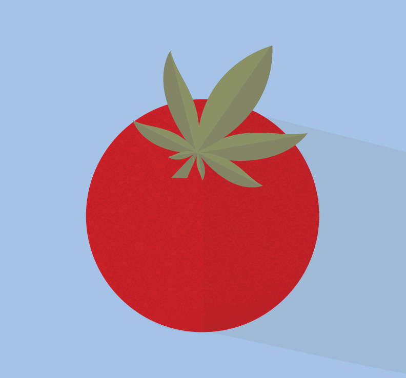 An illustration of a tomato and cannabis leaf (CNW Group/Canopy Growth Corporation)