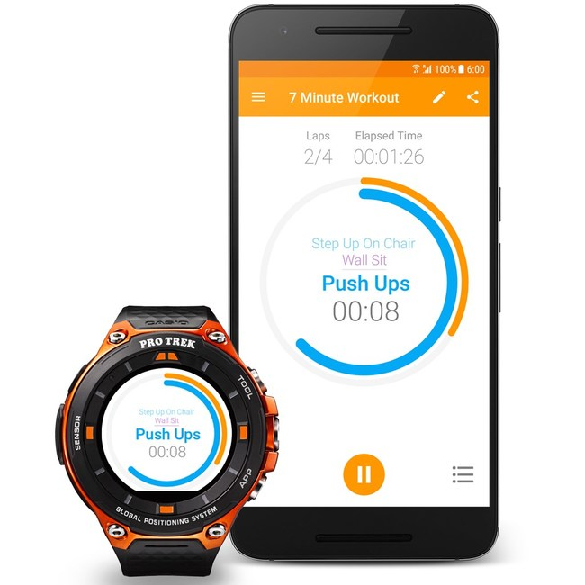 Exercise Timer synced on Mobile and CASIO PRO TREK Smart watch