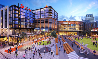 The Cordish Companies and St. Louis Cardinals recently broke ground on the $260 million expansion of Ballpark Village. The 700,000 square foot mixed-use development will complete a full build-out of Clark Street, transforming it into one of the most exciting city streets in all of professional sports. Artist rendering by Arnold Imaging.