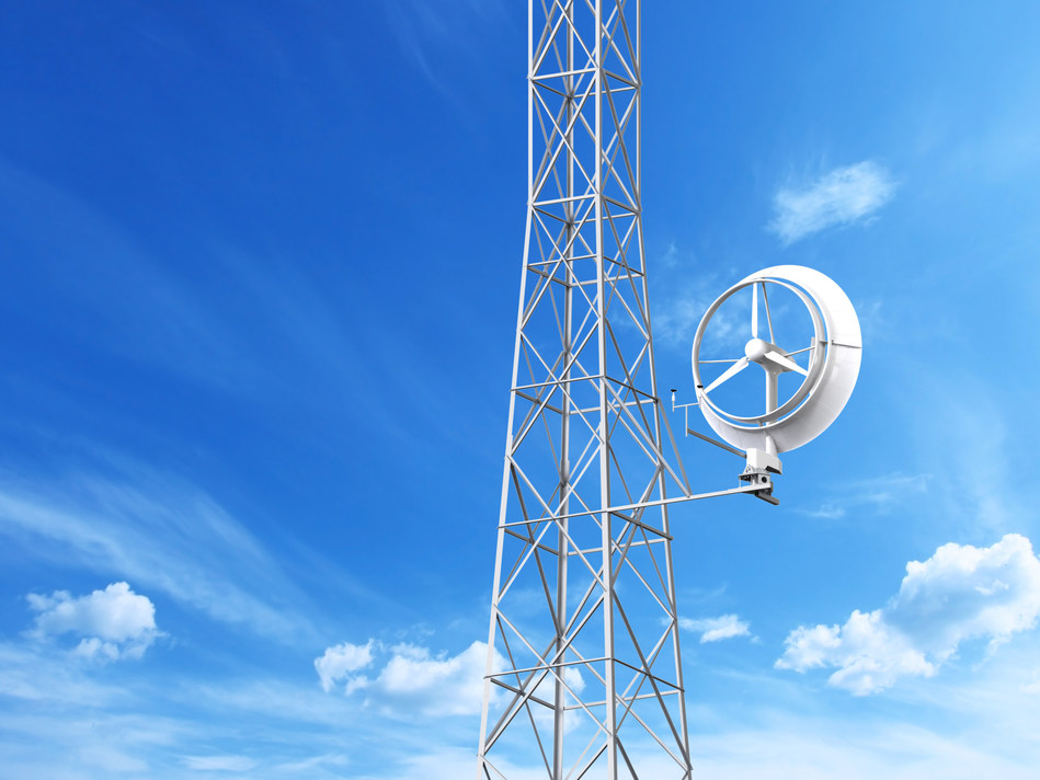Rendering of Halo Energy's 5kW wind turbine installed on a telecom tower
