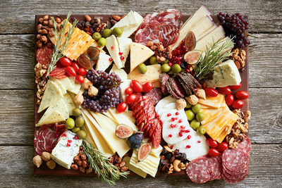 Satisfy a crowd with this Wisconsin specialty cheese board featuring a wide variety of flavors, textures and colors. From mild to wild the board includes: BelGioioso® Fresh Mozzarella, Président® Brie, Great Midwest® Colby Jack, Great Midwest® Pesto Jack, Great Midwest® Garlic Herb Jack, Sartori® Merlot BellaVitano®, Roth® Grand Cru®, Cambria Cave Aged Blue, Great Midwest® Habanero Jack and Great Midwest® 3-Alarm Jack.