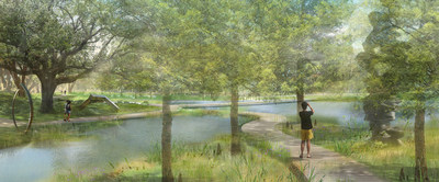 Mockup view of the Sydney and Walda Besthoff Sculpture Garden Expansion at NOMA