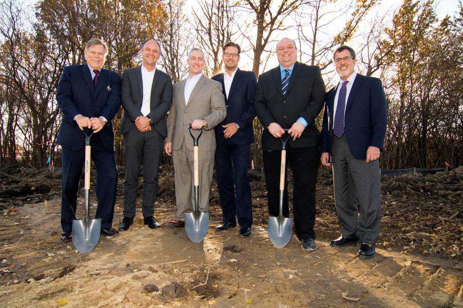 (left to right) Robert Nix, Northville Township Supervisor; Sven Hommel, Vice President Purchasing and Head of Purchasing GE NSA at HELLA; Steve Lietaert, President of HELLA Corporate Center USA; Joerg Weisgerber, CEO at HELLA Electronics Corp. NSA; Nathan Crist, Facilities Manager at HELLA; and David Haboian, Senior Vice President of Operations at REDICO recently commemorated the groundbreaking of HELLA's new U.S. headquarters and technical center in Northville, Michigan.