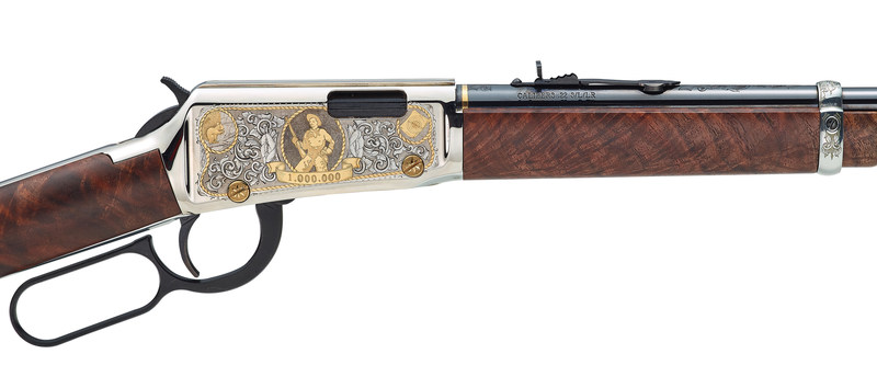 This one-of-a-kind rifle features a silver-finished receiver with detailed hand engravings done by Baron Engraving in Trumbull, CT. The 24-carat gold inlays contrast the rich scrollwork, and the stocks are exhibition grade American Walnut.