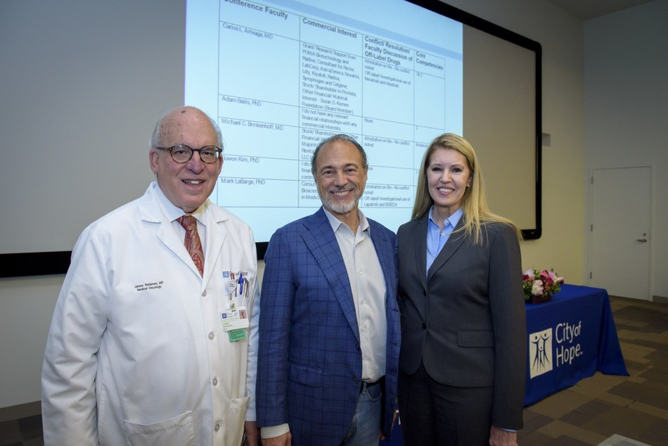 From Left to Right: James R. Waisman, M.D., Clinical Professor in the Department of Medical Oncology & Therapeutics Research at City of Hope; Michael Brinkenhoff, M.D., Founder & CEO, RevitaLash(r) Cosmetics; Linda Malkas, Ph.D., Deputy Director of Basic Research, Comprehensive Cancer Center at City of Hope