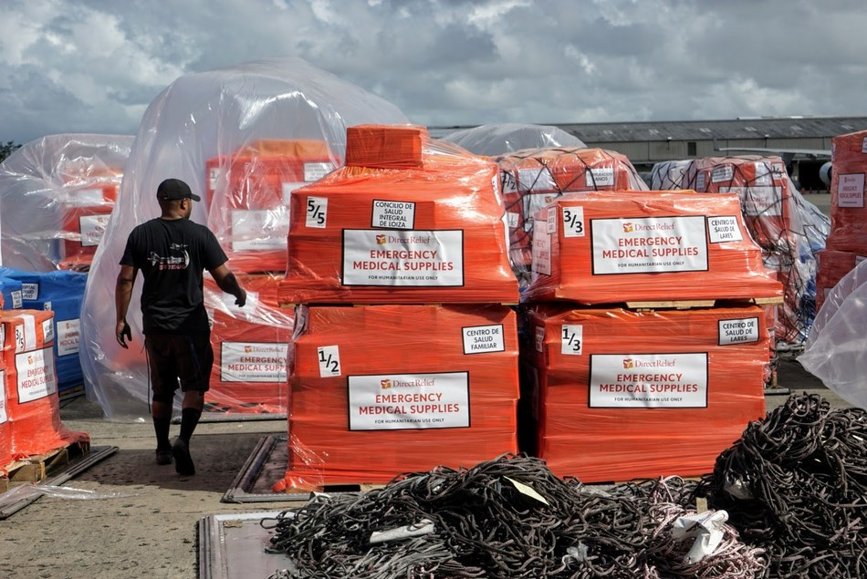 79,365 lbs of medications, nutritionals and medical supplies from Direct Relief arrive at the Luis Muñoz Marín International Airport in San Juan. (Photo: Lara Cooper / Direct Relief)