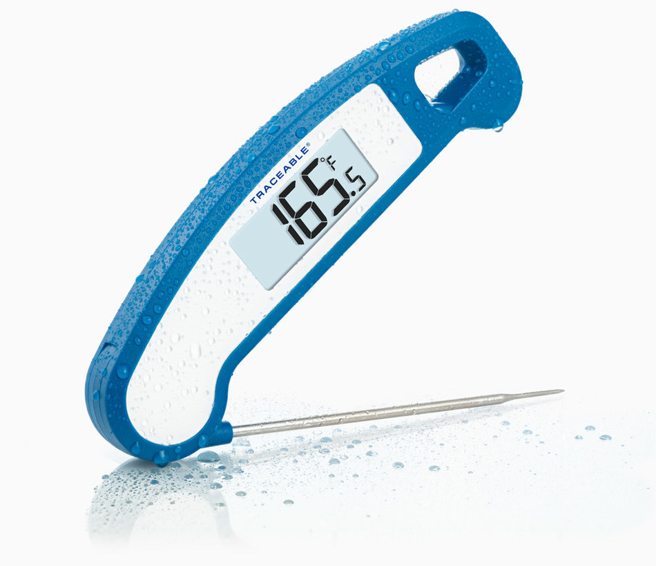 For any BBQ grill master, Kitchen Champion or Culinary Artist, this foldable compact design Traceable® Food Thermometer is easy to use. Fold-up, protected, stainless-steel probe permits ultimate portability can position at any angle for measuring an assortment of meats, candy or cakes.  The Big-digit, the 2-inch-high display allows easy to read temperatures.