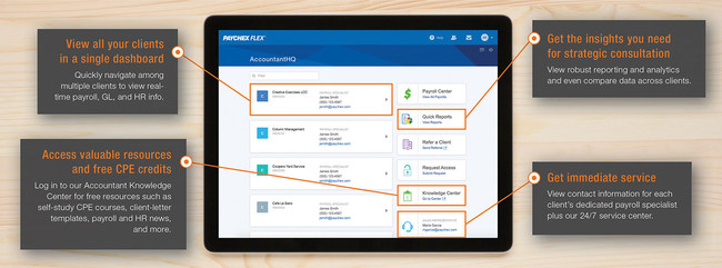 Through the Paychex Flex® online platform, AccountantHQ offers access to authorized client payroll and HR data and key account contacts, along with an extensive accountant resource library – all backed by an enhanced accountant service model.