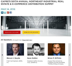 Join Active Developers, Investors, Capital Sources, End-Users & More for Northeast-Regional Industrial Summit: What is the Amazon Effect on Overall Leasing, Development and Investment? Join CAPRE's 6th Annual Northeast Industrial Real Estate & E-Commerce Distribution Summit on March 14 in 2018.