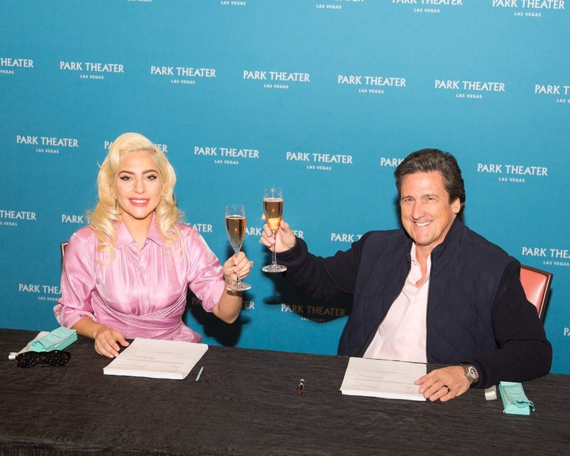 Lady Gaga and MGM Resorts International President Bill Hornbuckle toast to the artist's two-year engagement at Park Theater in Las Vegas. Credit: Alex Dolan