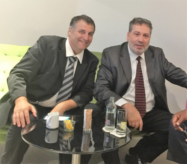 Right: Zeev Peretz, Law school graduate, 30 years of experience of management public and private, commercial and industries companies. Left: Laser Rothstein 30 years of experience in technological development in the field of Hi-Tech and in renewable energy market.