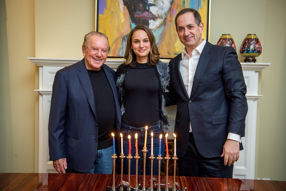 Philanthropist Morris Kahn, 2018 Genesis Prize Laureate Natalie Portman, and Co-Founder and Chairman of The Genesis Prize Foundation Stan Polovets
