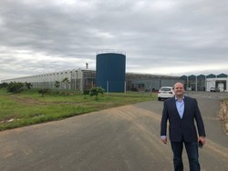 Figure 4: LGC Capital's CEO John McMullen at the entrance to Block D at Dube TradePort AgriZone (CNW Group/LGC Capital Ltd)