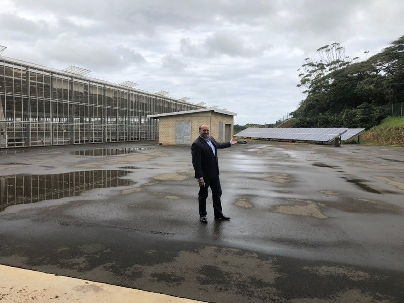 "Figure 5: LGC Capital's CEO John McMullen showing some of the 'green"" credentials of Block D at Dube TradePort's AgriZone. (CNW Group/LGC Capital Ltd)"