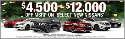 Holiday sales pricing at Glendale Nissan ends on Jan. 2, 2018.