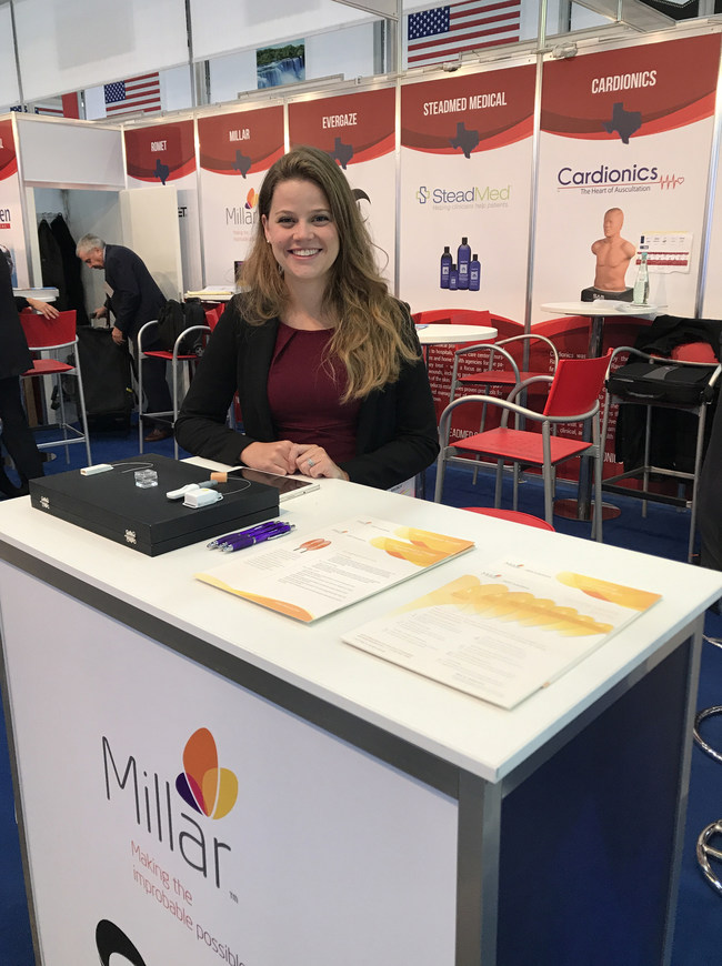 Michelle Davis, OEM Engineer at Millar, Inc., representing the company's medical device OEM division at MEDICA 2017.