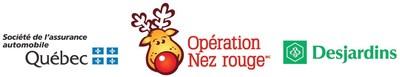 Logos : Société de l'assurance automobile du Québec, Opération Nez rouge, Mouvement Desjardins (Groupe CNW/Société de l'assurance automobile du Québec)