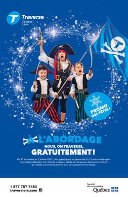 Promotion familiale du temps des fêtes aux traverses de Québec et de Sorel-Tracy. (Groupe CNW/Société des traversiers du Québec)