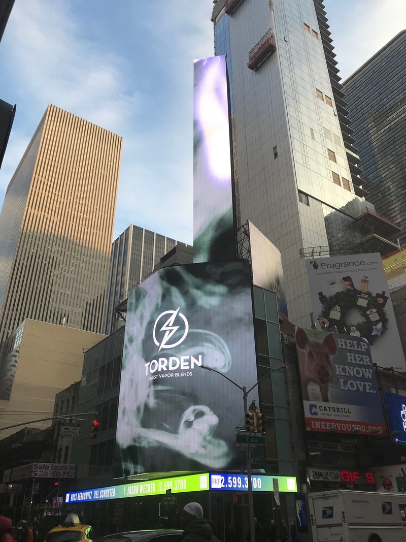 """Torden Brands finest vapor blends is featured on """"The Bird"""" billboard. It has rectangular section and a towering 97' x 25' stovepipe shaped section from which the Torden lightning strike will come."""