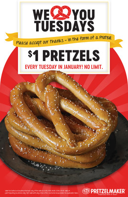 $1 Pretzels Every Tuesday in January at Pretzelmaker.