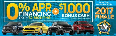 Chattanooga-area car shoppers who are looking for holiday savings on a new car, truck or crossover will discover the lowest prices of the year on select 2017 Ford models available at Marshal Mize Ford through December 30.