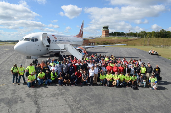 The team at Lynchburg Regional Airport in Lynchburg, Virginia leaving for Puerto Rico - Oct 2, 2017. 130 people.