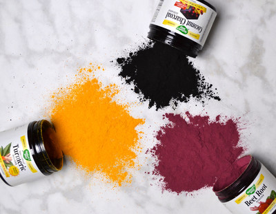 The new Single Herb Powders from Nature's Way are made with premium, dried whole herbs, and include Turmeric Powder, Beet Root Powder and Activated Coconut Charcoal Powder. (PRNewsfoto/Nature's Way® Brands, LLC)