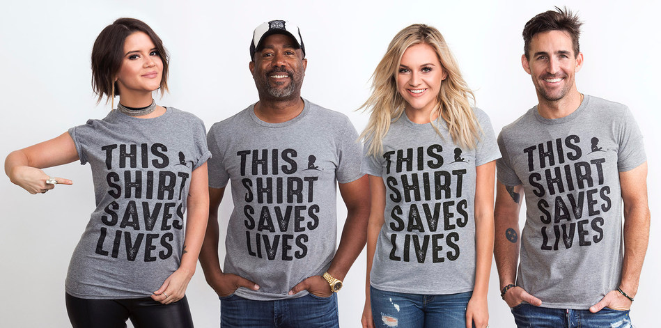 Country music stars Maren Morris, Darius Rucker, Kelsea Ballerini and Jake Owen have lent their voices to the THIS SHIRT SAVES LIVES campaign to encourage support for St. Jude Children's Research Hospital. (PRNewsfoto/St. Jude Children's Research...)