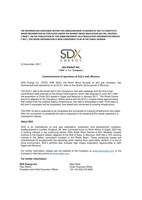 "SDX ENERGY INC.(""SDX"" or the ""Company"") - Commencement of operations at ELQ-1 well, Morocco (CNW Group/SDX Energy Inc.)"