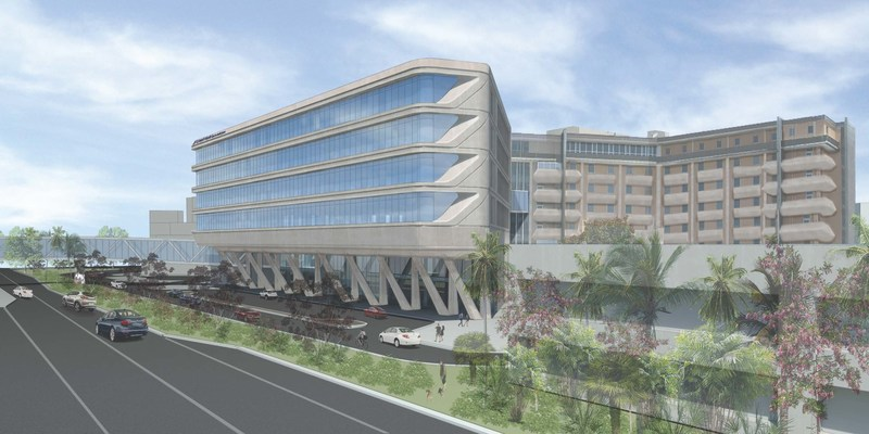 This rendering depicts a view of the new addition to St. Joseph's Hospital in Tampa as it will be seen looking westbound from Dr. Martin Luther King Jr. Blvd. The bridge will connect the main hospital with St. Joseph's Women's Hospital, which is located across the street.