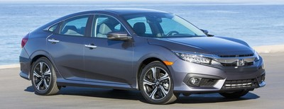 Passenger side exterior view of a gray 2018 Honda Civic.