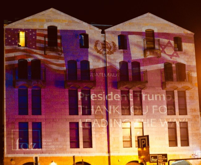 US Guatemalan and Israeli flags displayed on Friends of Zion Museum in the heart of Jerusalem Christmas Day