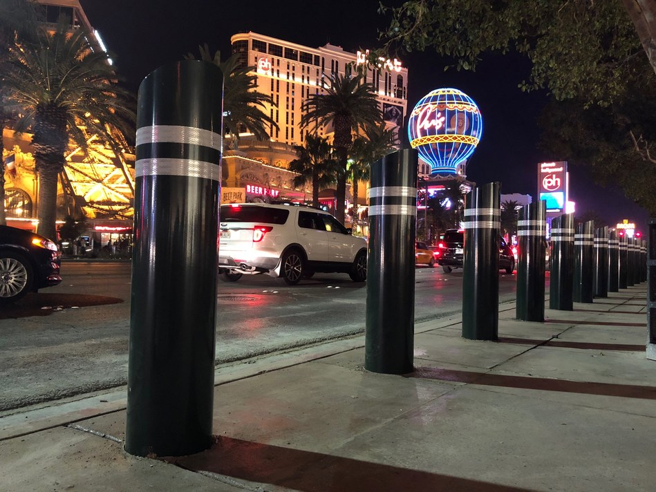 Gibraltar anti-ram bollards installed on Las Vegas Boulevard to protect pedestrians from vehicles.