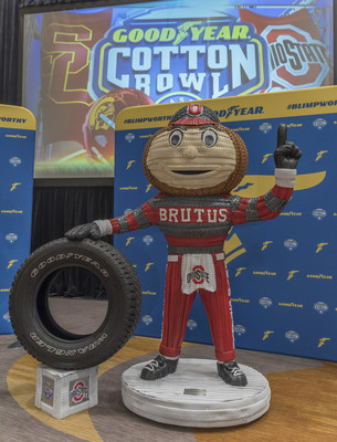 Goodyear unveils tire mascot sculptures of the University of Southern California's Tommy Trojan and The Ohio State University's Brutus on Wednesday, Dec. 27 in Dallas. Made from more than 400 Goodyear tires, the 'Blimpworthy' pieces of artwork honor the hard work, determination and grit of both teams that have advanced to the 82nd Cotton Bowl Classic.