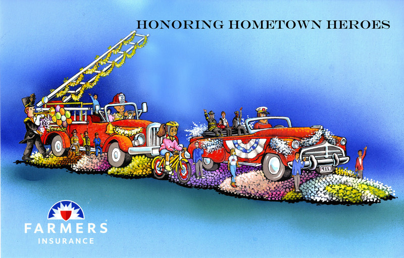 "In 2018, Farmers Insurance® will celebrate its 59th year supporting the Rose Parade with a float called ""Honoring Hometown Heroes,"" which recognizes all brave first responders. Depicting a scene from a small-town parade, the Farmers float features a classic red fire truck and chief command vehicle, both transporting first responders, as well as Farmers agents and district managers."