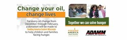 "The ""Change Your Oil, Change Lives"" fundraiser runs through March 3, 2018."