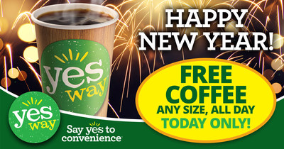 Yesway, the fast growing convenience store chain, is giving a gift to its customers this holiday season - FREE Yesway Signature Blends Coffee on New Year's Day. Coffee lovers are invited to stop in to their local Yesway store on January 1, 2018 for a free any-size coffee, available all day.