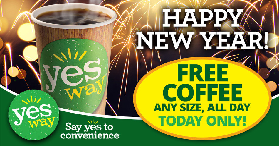 Yesway, the fast growing convenience store chain, is giving a gift to its customers this holiday season — FREE Yesway Signature Blends Coffee on New Year's Day. Coffee lovers are invited to stop in to their local Yesway store on January 1, 2018 for a free any-size coffee, available all day.