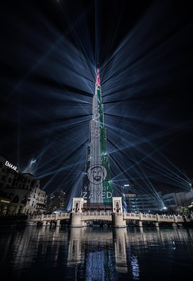 """Os Emirados Árabes Unidos festejam o Novo ano com o espetáculo """"Light Up 2018"""" da Emaar no Centro de Dubai, que também celebrou o """"Ano de Zayed"""" sendo marcado pela nação (PRNewsfoto/Emaar Properties)"""