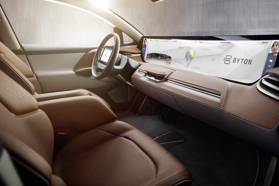 BYTON's Shared Experience Display includes sensors that enable front and rear passengers to control the screen using hand gestures.