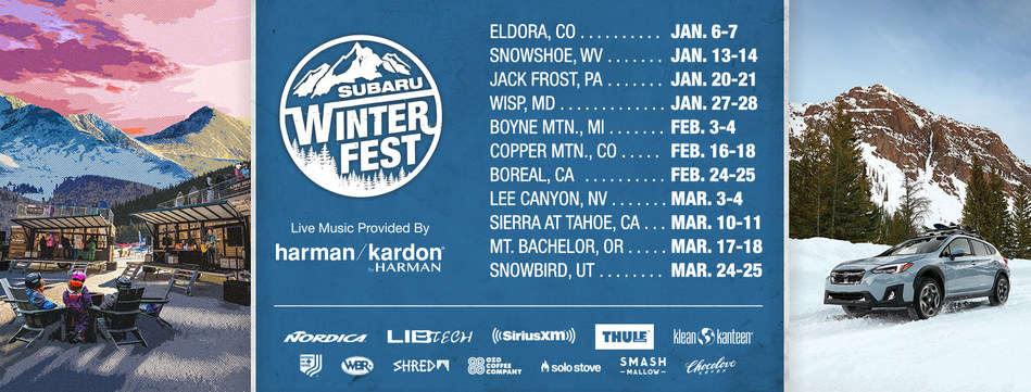 Subaru WinterFest 2018 will feature stops at 11 of the country's top winter mountain resorts, where winter sports buffs and Subaru owners can enjoy live music, locally sourced food and beverages, daily giveaways, gear demonstrations and more. For more information on a Subaru WinterFest, visit www.subaru.com/events and follow #SubaruWinterFest.