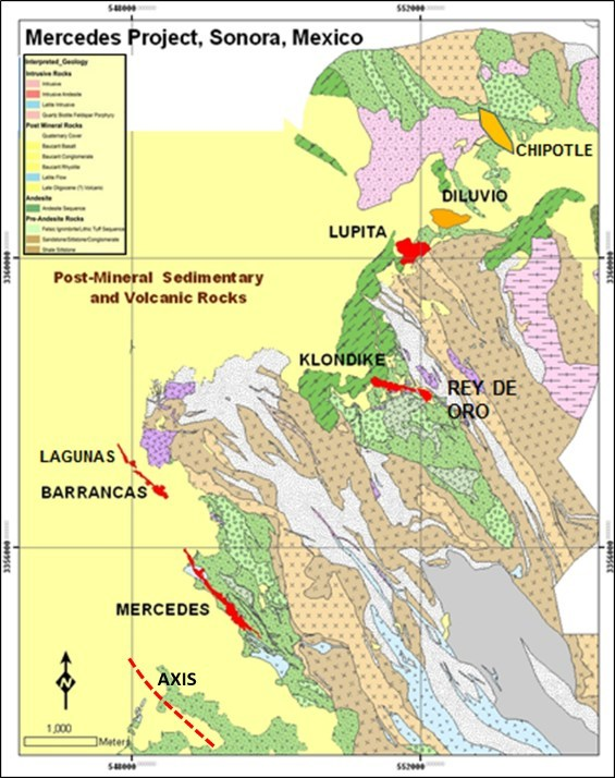 Figure 1: Mercedes Regional Geology & Target Areas (CNW Group/Premier Gold Mines Limited)