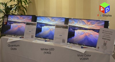 First public demo of Vivid Color in an LCD display, compared with QDEF and White-LED