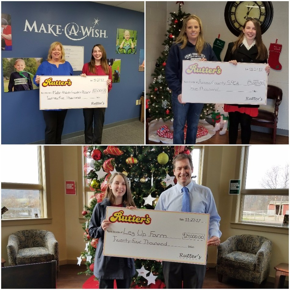 1st Row Left to Right – Ann Waltman (Regional Director of Make-A-Wish Greater PA & WV), Kirsten Stanley (Rutter's Marketing Coordinator).  Abigail Avery (Shelter Manager of The Adams County SPCA), Kirsten Stanley (Rutter's Marketing Coordinator).  2nd Row Left to Right – Kirsten Stanley (Rutter's Marketing Coordinator), Tom O'Connor (President of Leg Up Farm).