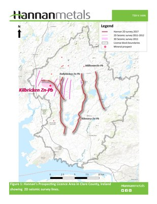 Figure 1: Hannan's Prospecting Licence Area in Clare County, Ireland showing 2D seismic survey lines. (CNW Group/Hannan Metals Ltd.)